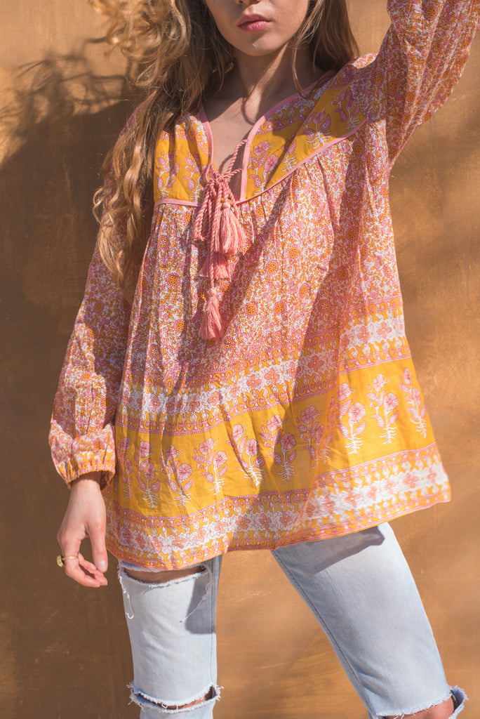 Primrose Orange and Pink Cotton Floral Top