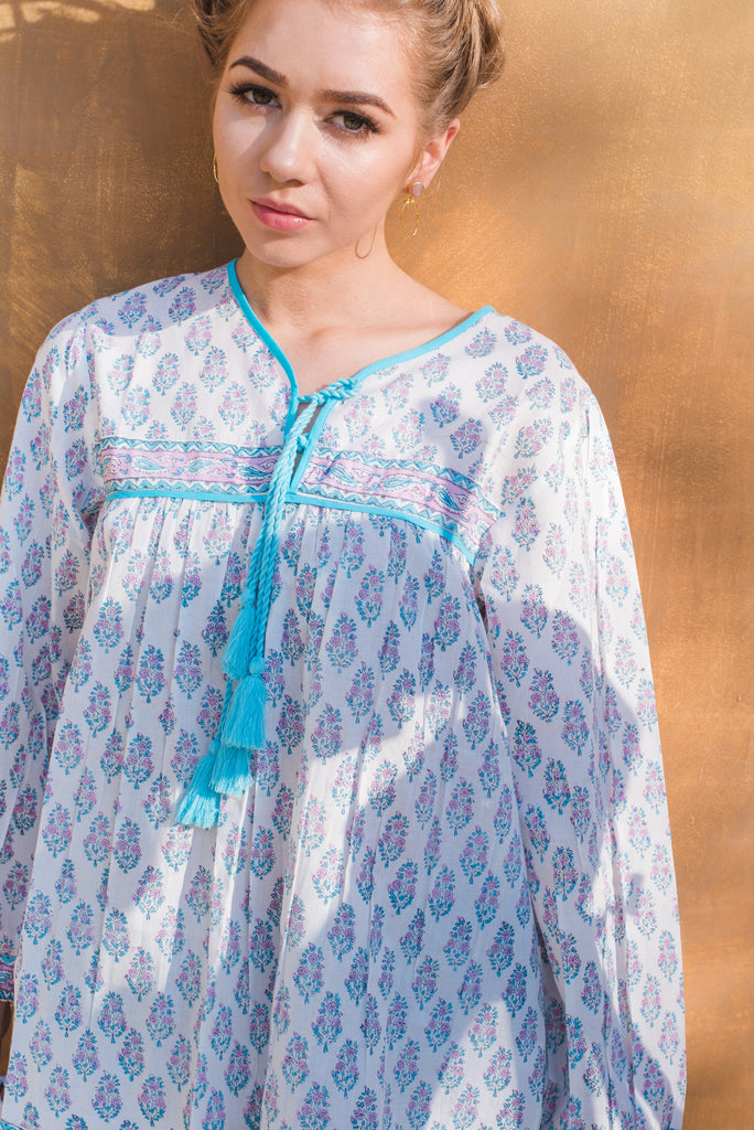 Wisteria Lilac and Turquoise Cotton Floral Top