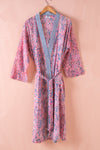 Rose Dawn Hand Block Printed Cotton Dressing Gown