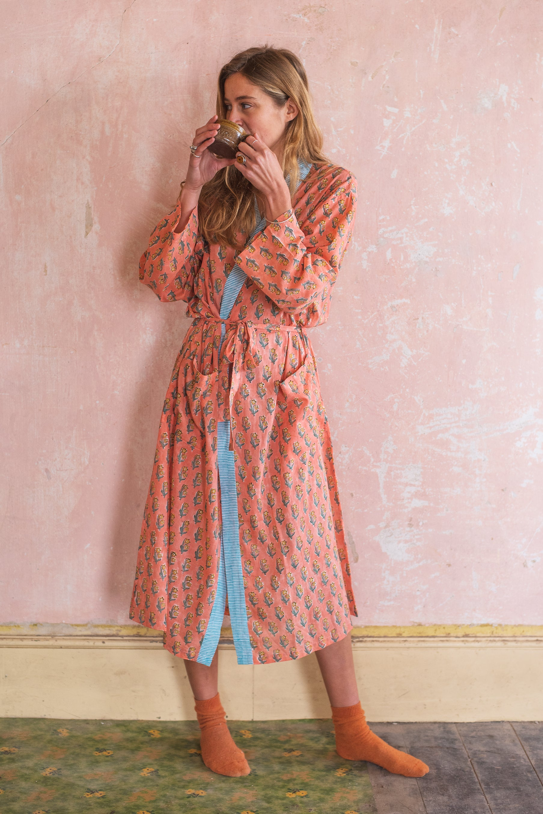 Papaya Hand Block Printed Cotton Dressing Gown