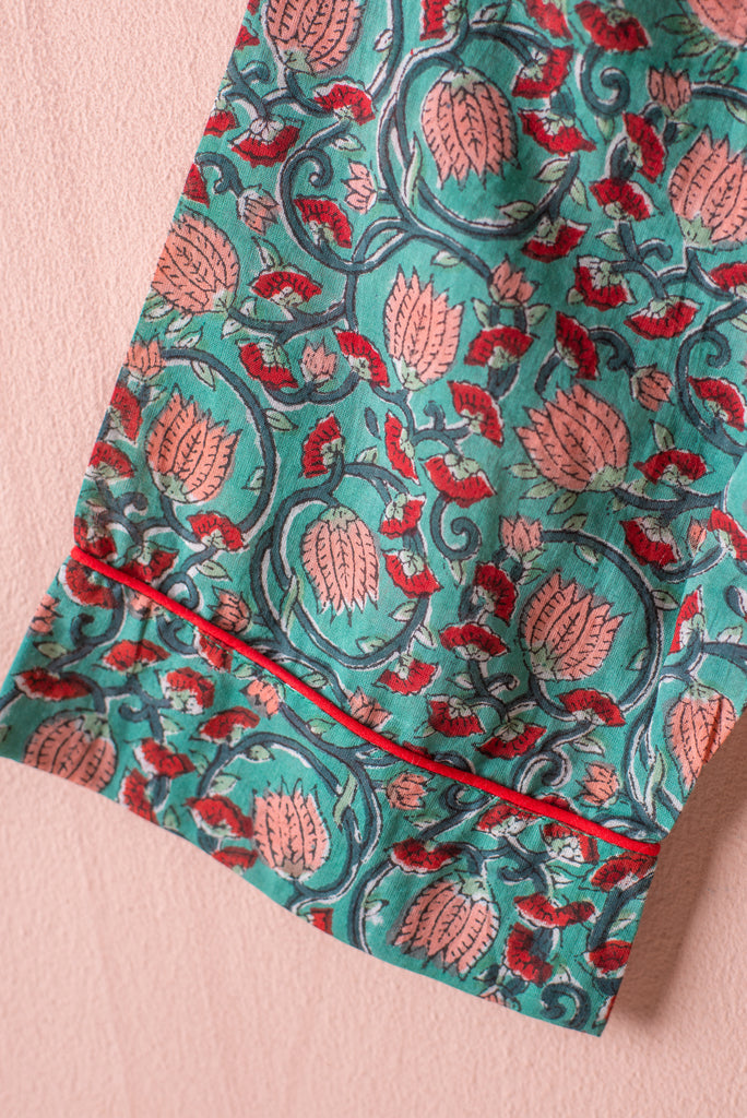 Bayou Hand Block Print Cotton Pyjamas - large/x large