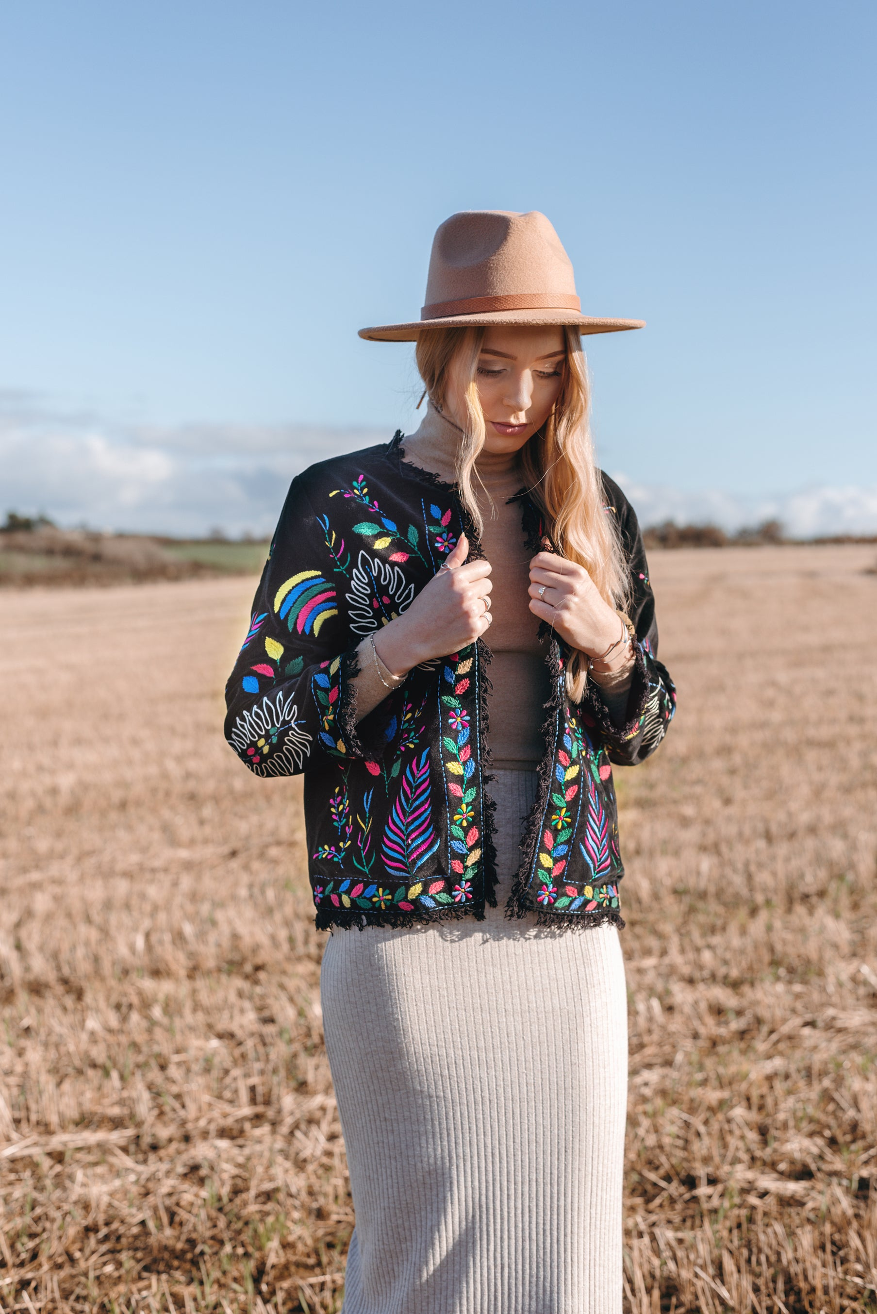 Edith Black Embroidered Jacket