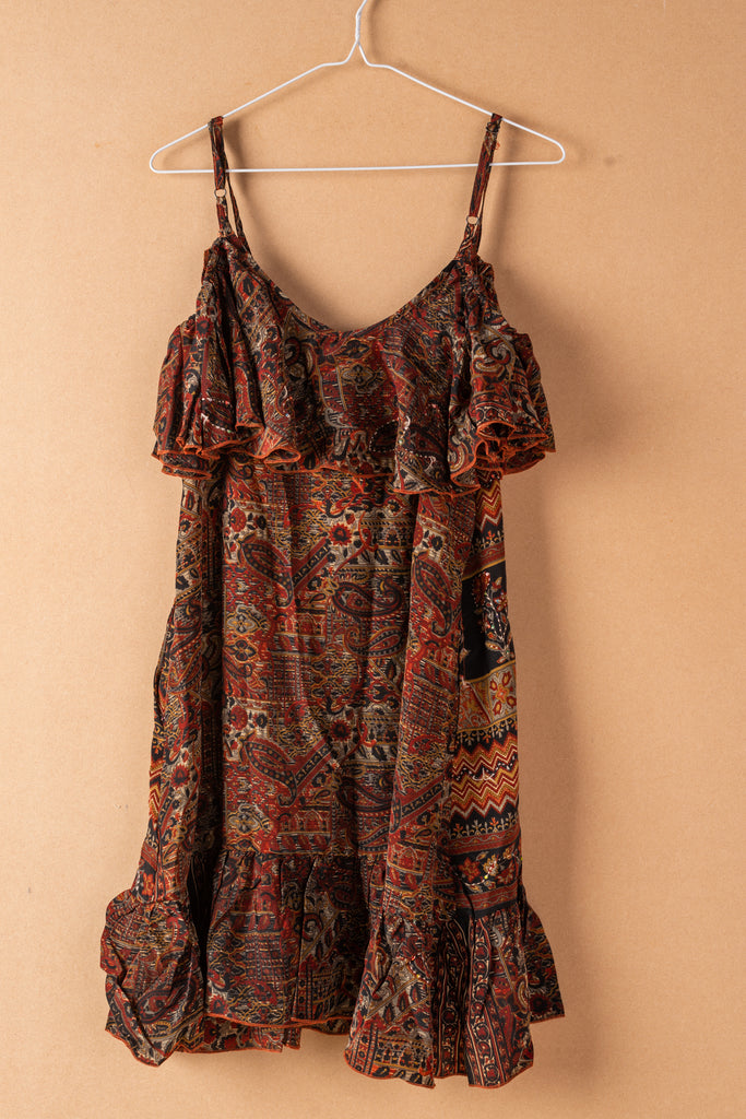 Recycled Silk Short Sleeveless Dress - small - 34