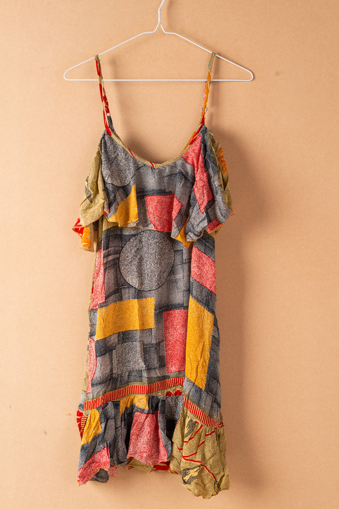 Recycled Silk Short Sleeveless Dress - small - 36