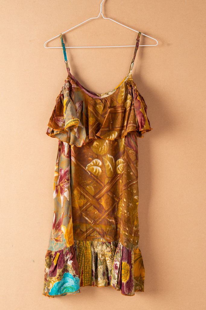 Recycled Silk Short Sleeveless Dress - small - 37