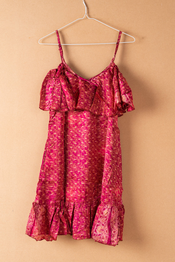 Recycled Silk Short Sleeveless Dress - small - 38