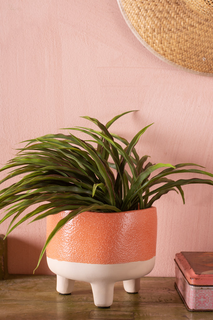 Matte Orange Sand Earthenware Planter