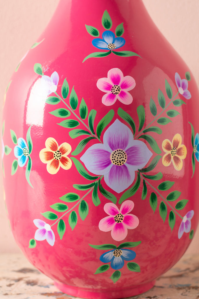 Handpainted Iron Vase Deep Pink