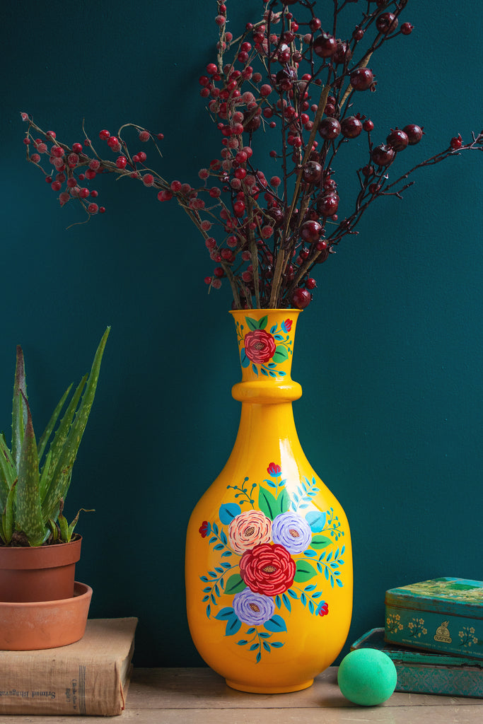Handpainted Iron Vase Yellow