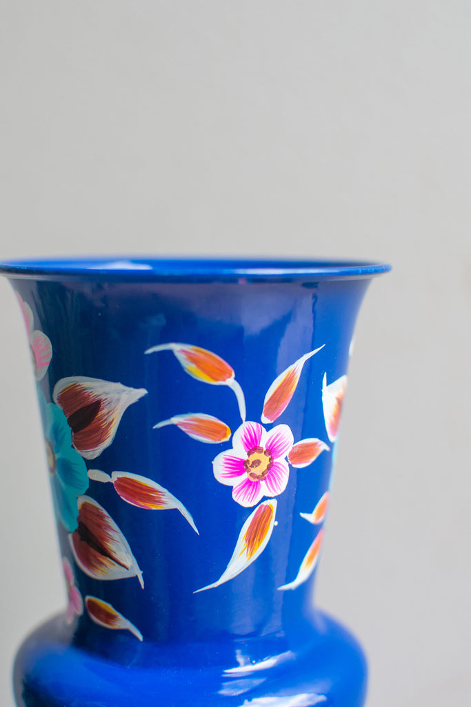 Hand painted Iron Vase Blue