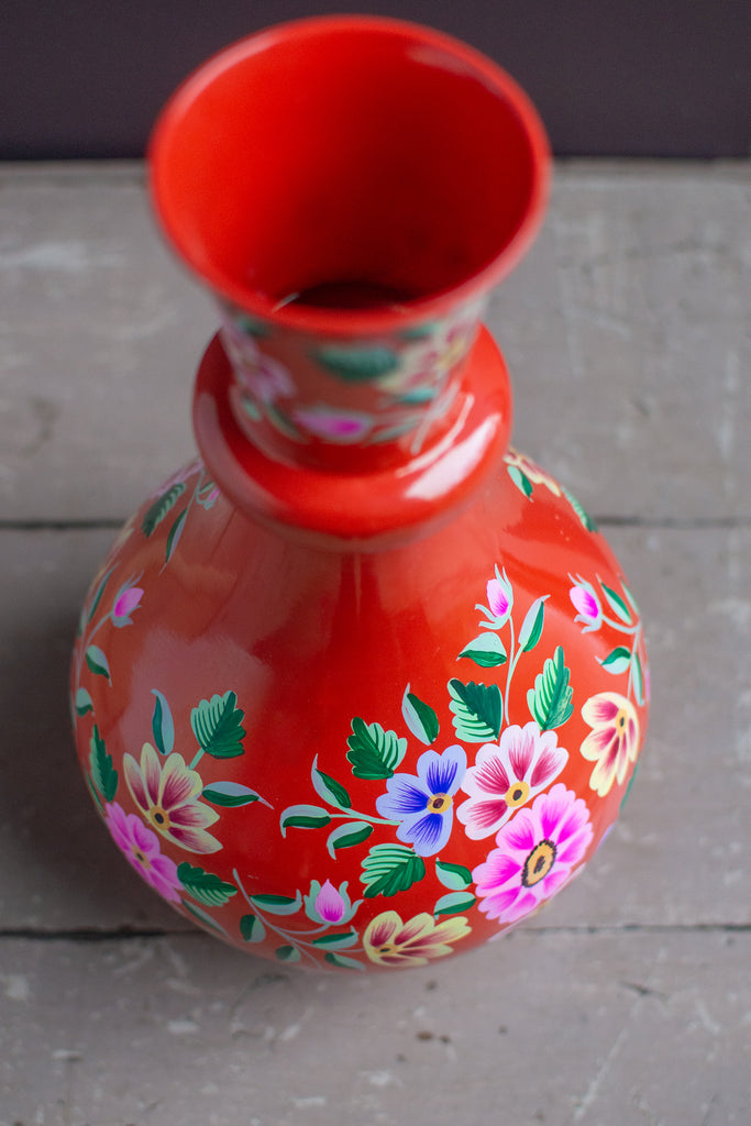 Handpainted Iron Vase Red