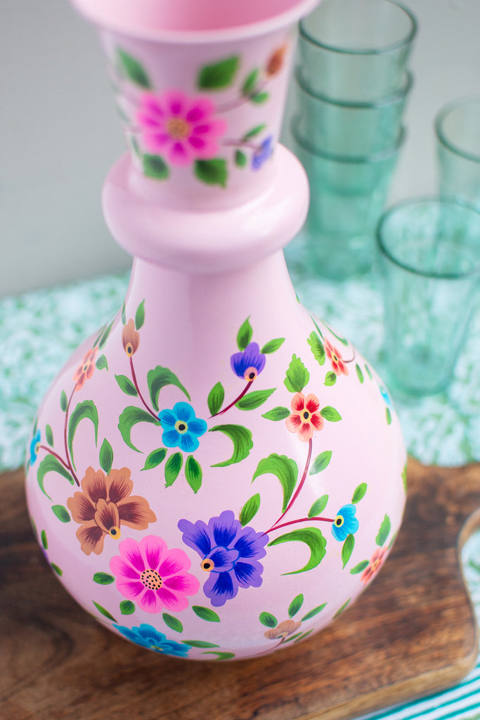 Handpainted Iron Vase Pale Pink