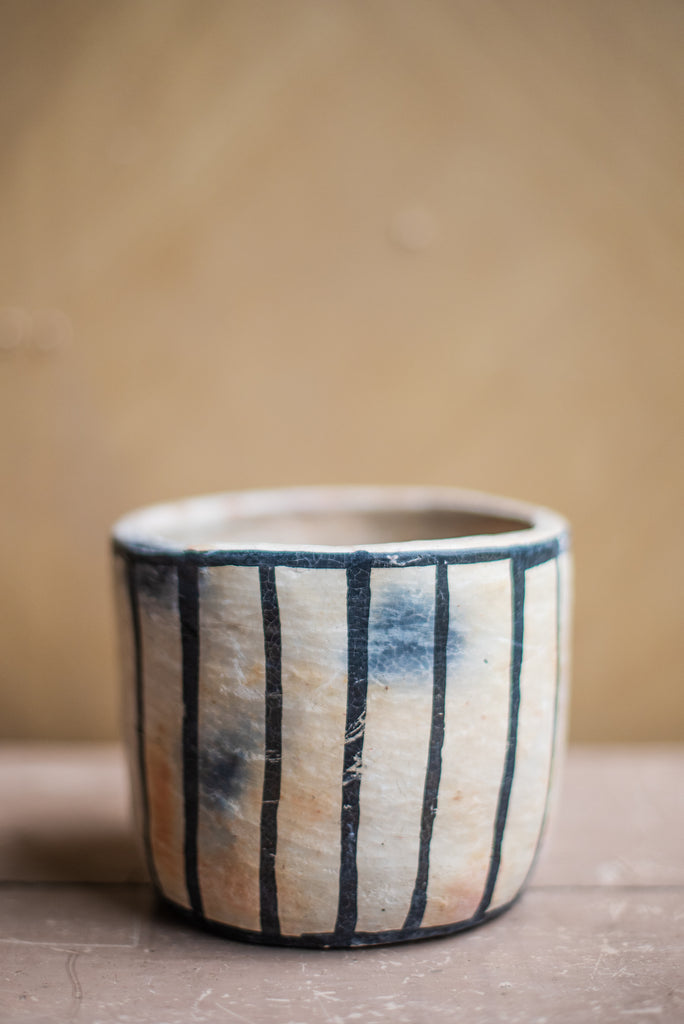 Clay Pot with Vertical Stripes