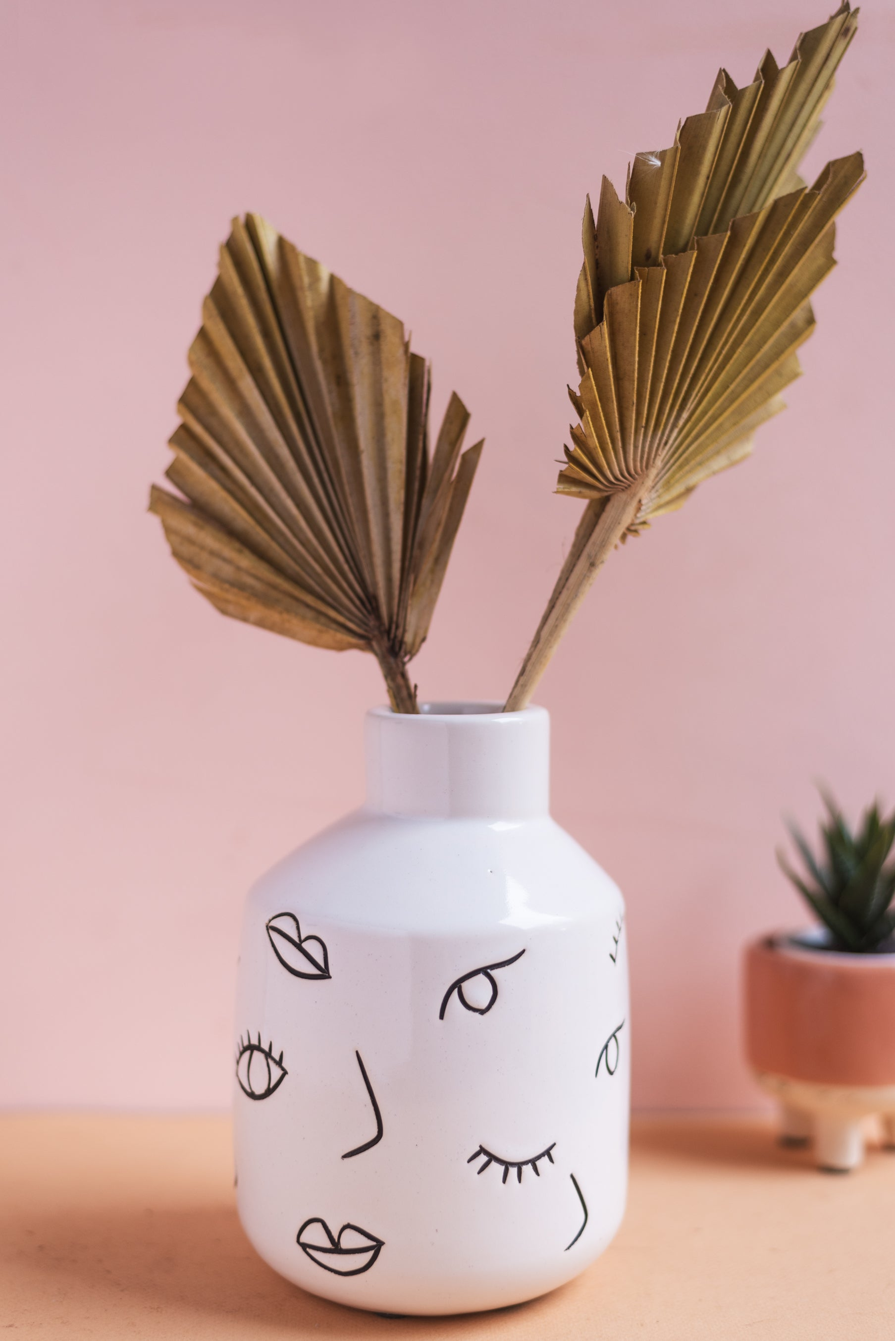 Imperfect Abstract Face Earthenware Vase