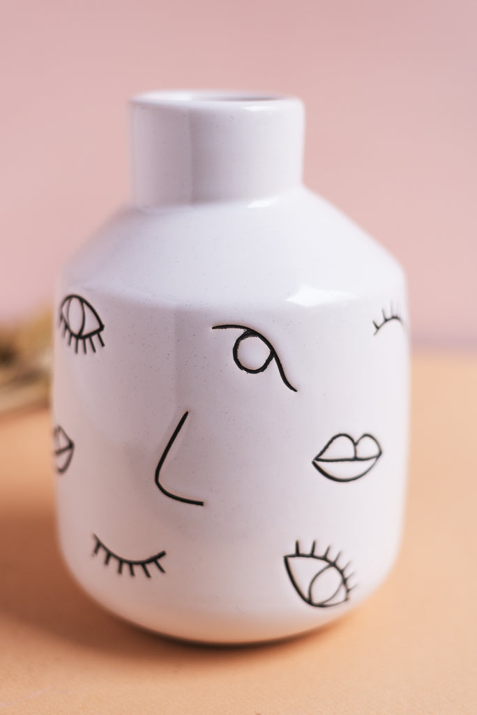 Abstract Face Earthenware Vase