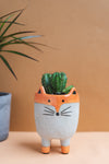 Abstract Fox Earthenware Planter