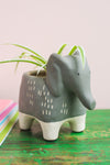Matte Grey Elephant Earthenware Pot