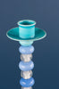 Blue Glass Bead Candlestick