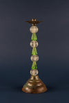 Green Glass Bead Candlestick