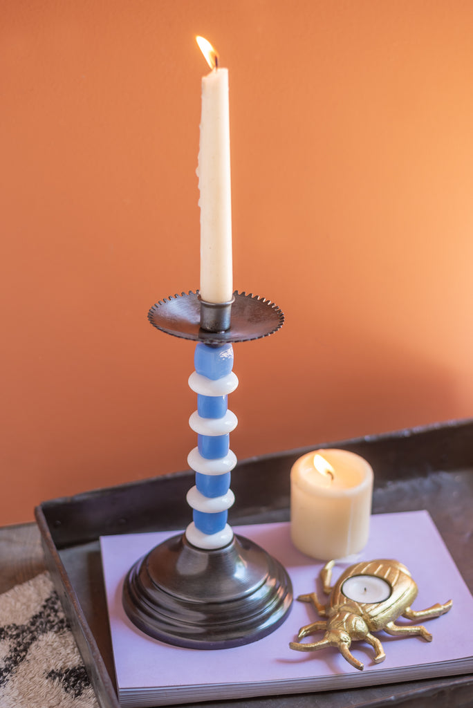 Grey Glass Bead Candlestick