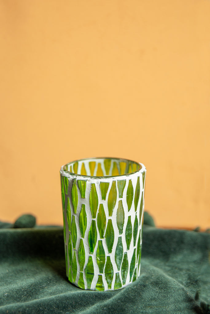 Green Lustre Glass Mosaic Votive