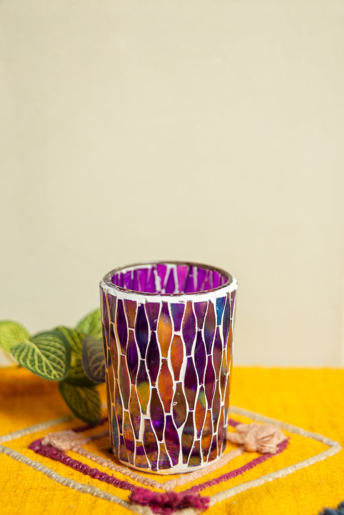 Purple Lustre Glass Mosaic Votive