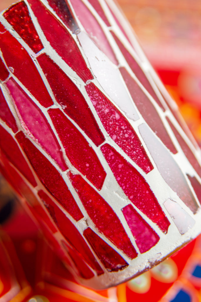 Red Lustre Glass Mosaic Votive