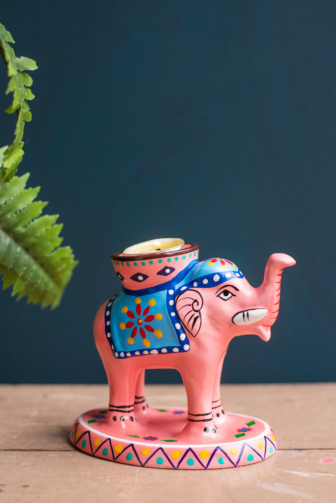 Pale Pink Hand Painted Clay Elephant Tea Light Holder