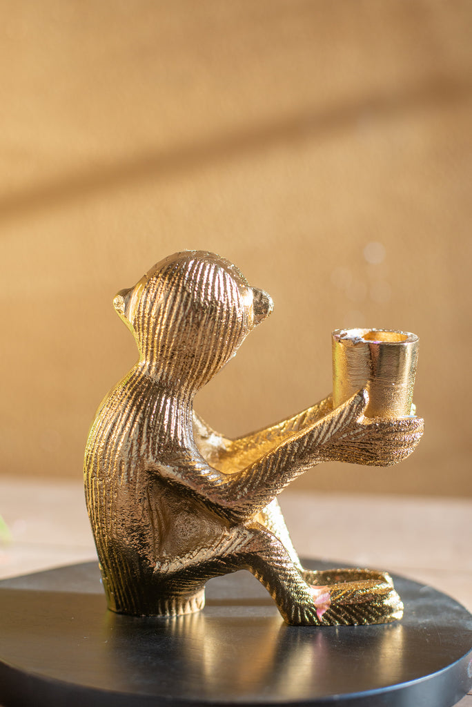 Gold Finish Monkey Candle Holder