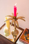 Gold Finish Palm Tree Candle Holder