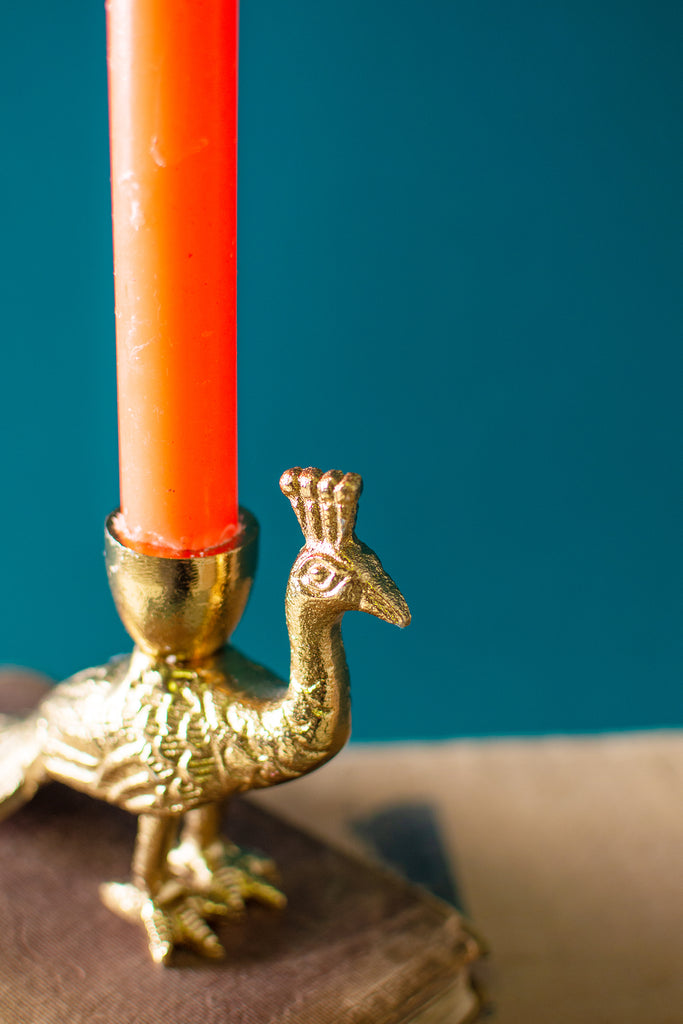 Gold Finish Peacock Candle Holder
