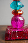 Multi Coloured Stacked Glass Bead Candle Holder