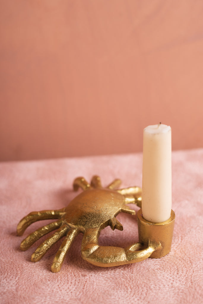 Gold Finish Crab Candle Holder