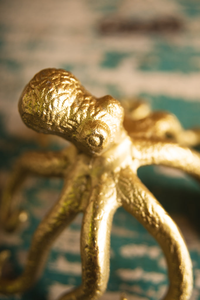 Gold Finish Octopus Candle Holder
