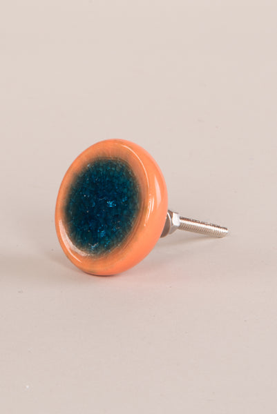 Teal and Orange Ceramic Doorknob with Crackle Glaze