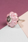 Pink Pearlescent Ceramic Flower Door Knob