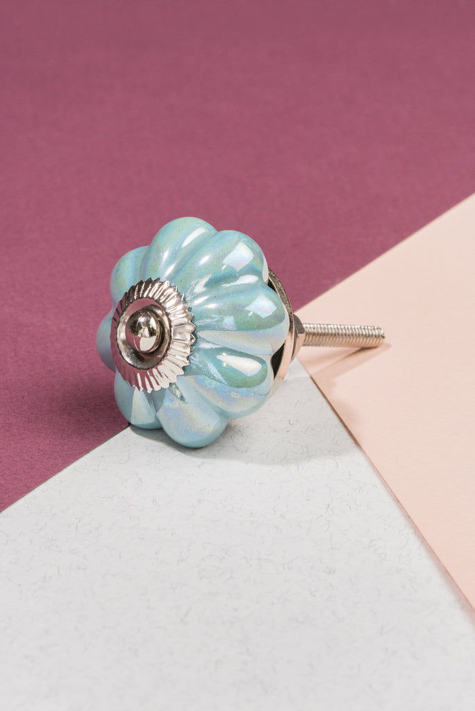 Aqua Pearlescent Ceramic Flower Door Knob