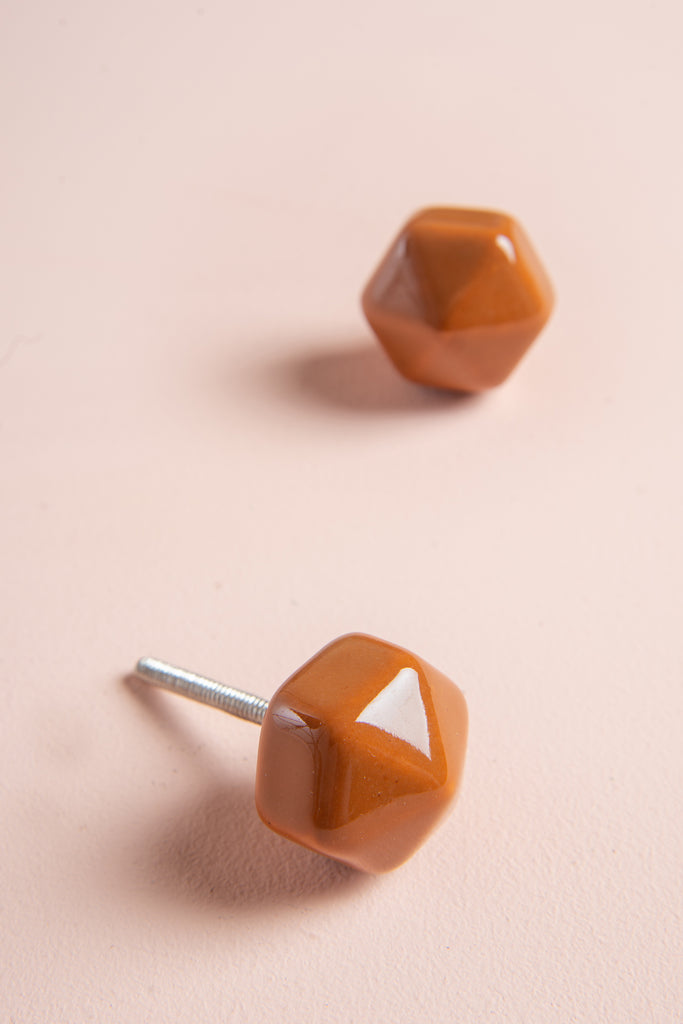 Burnt Orange Hexagonal Ceramic Door Knob