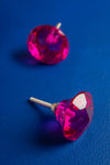 Bright Pink Faceted Round Glass Door Knob
