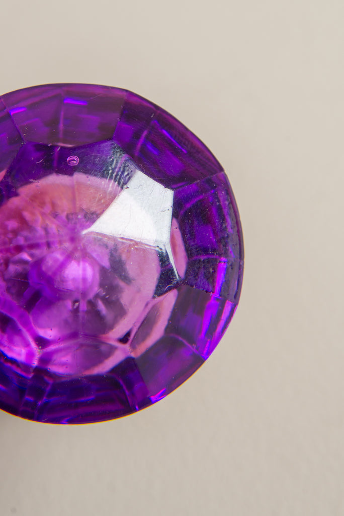 Purple Faceted Round Glass Door Knob