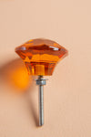 Orange Faceted Round Glass Door Knob