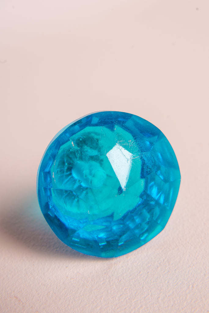 Blue Faceted Round Glass Door Knob