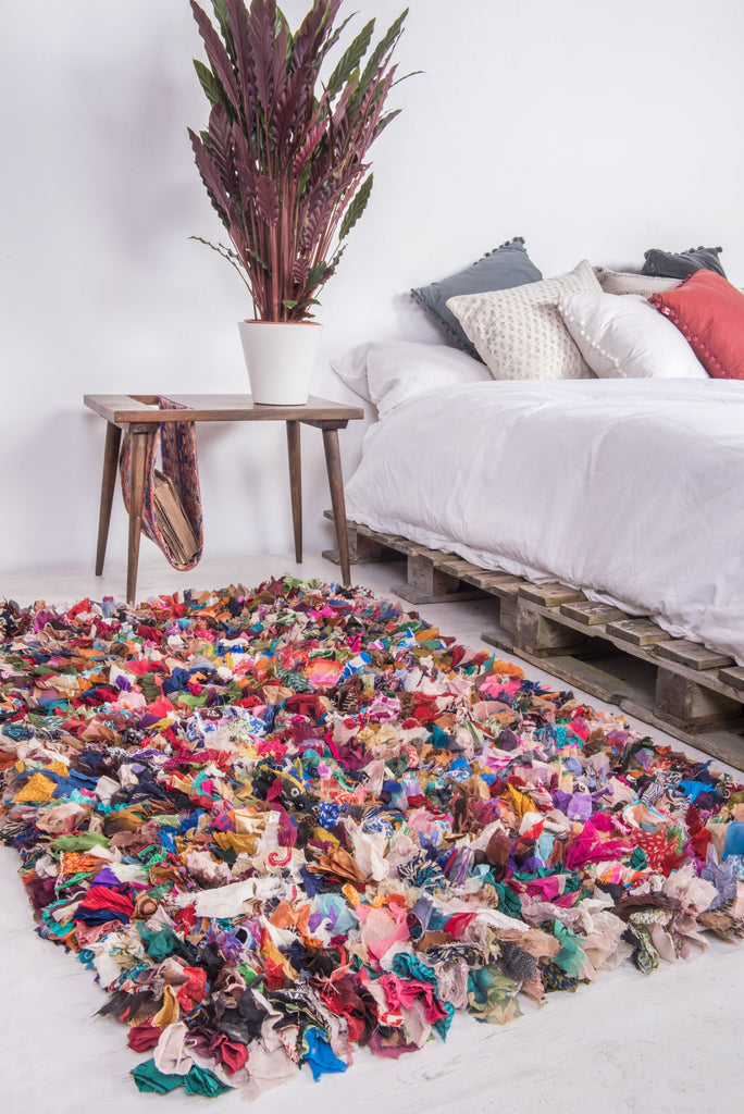 Recycled Shaggy Patterned Rag Rug