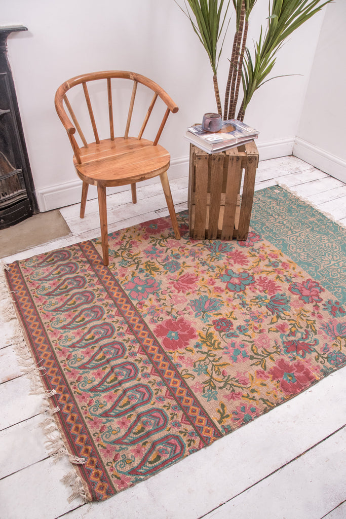 Floral Fusion Cotton Printed Stonewashed Rug