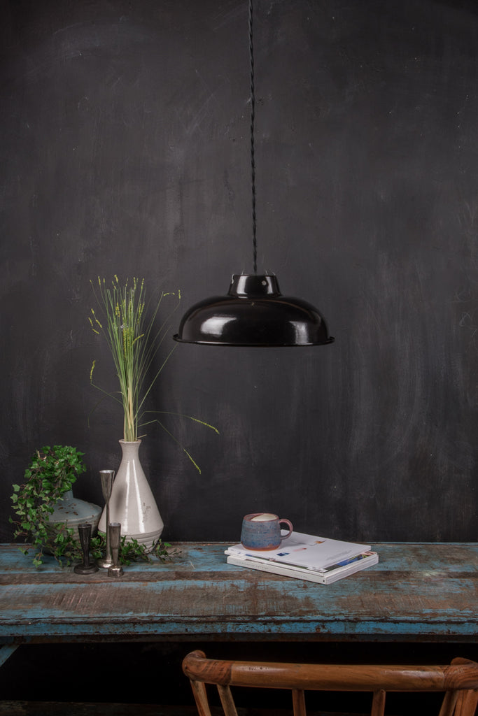 Black Medium Enamel Lampshade