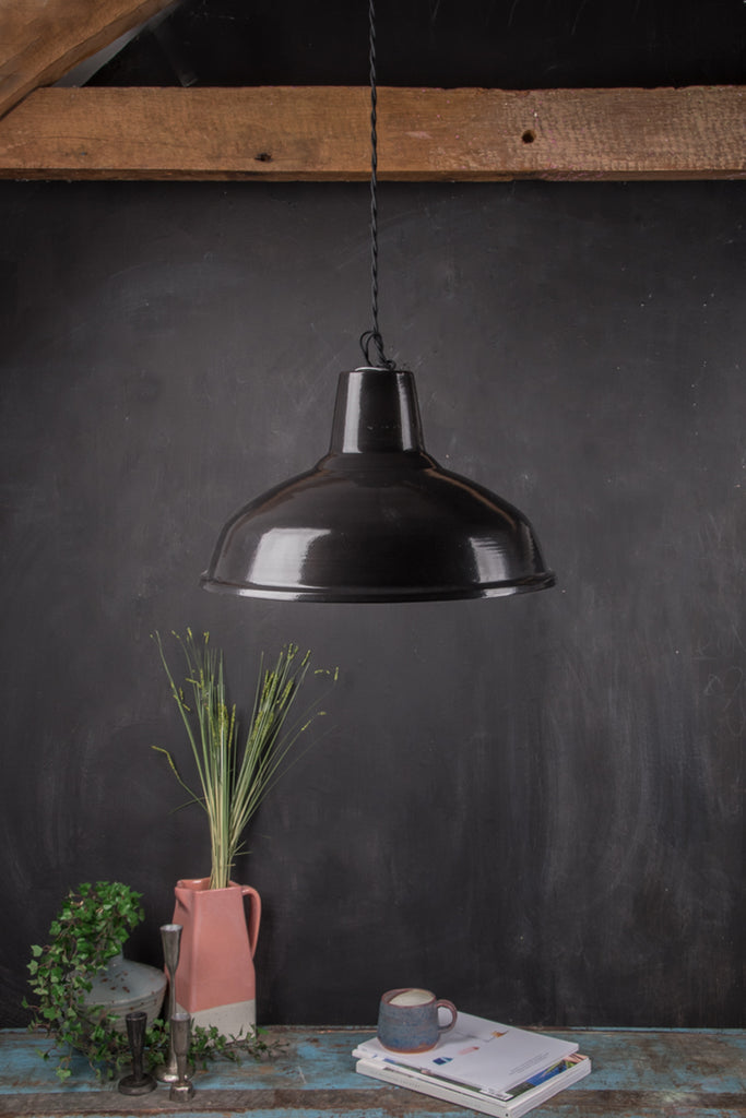 Black Large Enamel Lampshade