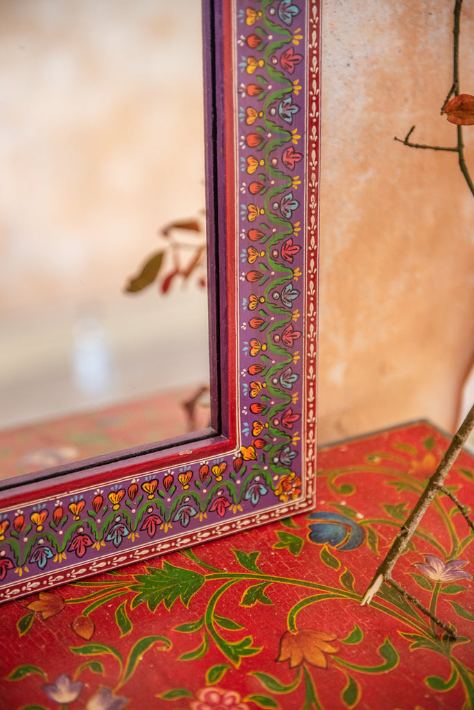 Purple Highly Decorative Arched Wooden Mirror with Mehandi Work