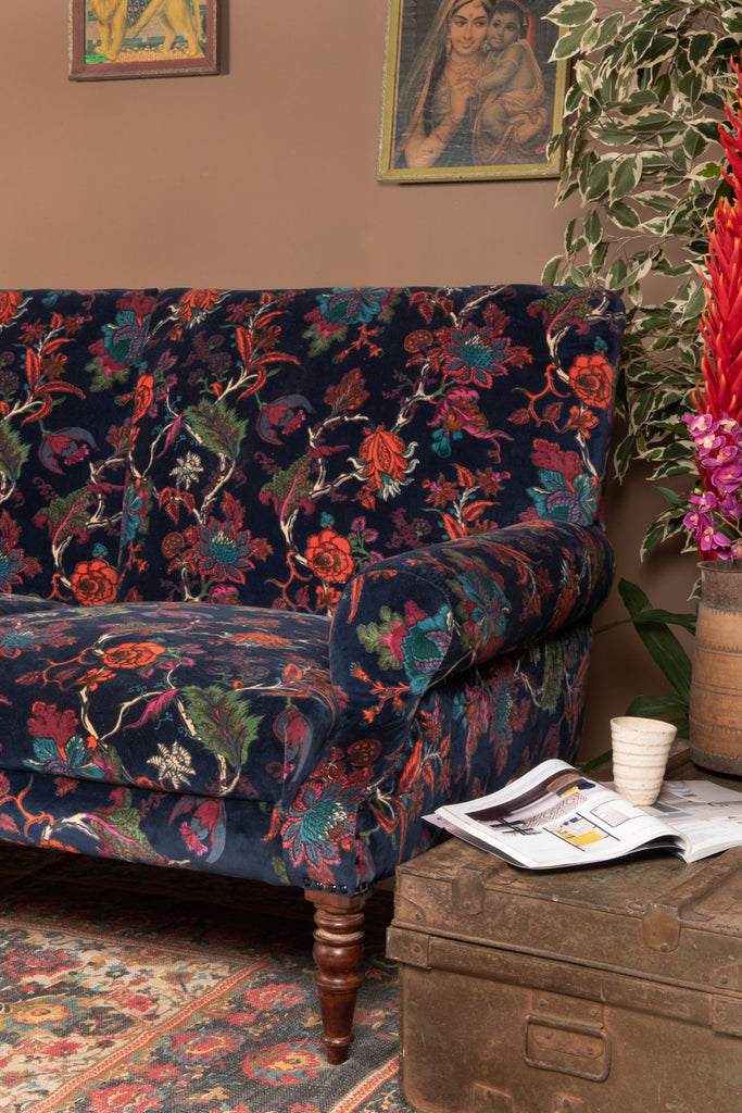 Navy Tree of Life Floral Cotton Velvet Two Seater Sofa