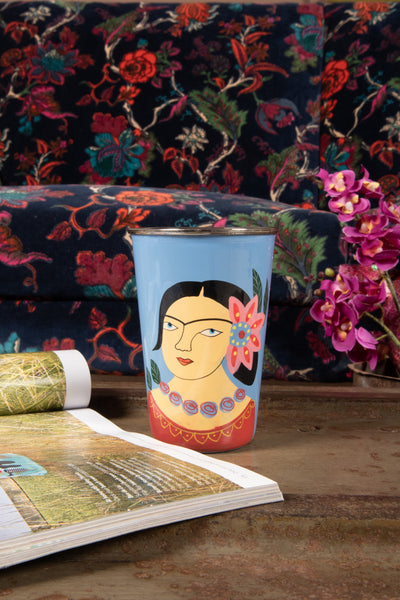 Frida Kahlo Blue Stainless Steel Tumbler
