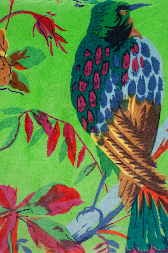 Green Bird of Paradise Velvet Fabric by the Metre